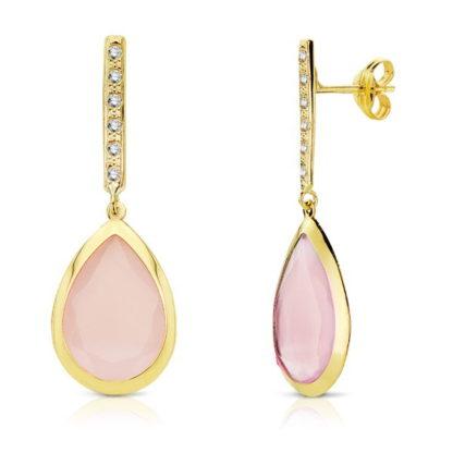 pendiente-oro-mujer-piedra-rosa