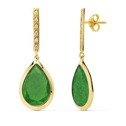 pendiente-oro-mujer-piedra-verde