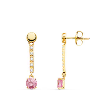pendiente-oro-piedra-rosa-cadiz